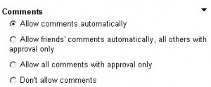 One of the options for controlling commenting on videos is to only allow friends to comment.