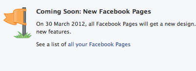 Facebook changes March 2012