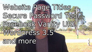 Redcliffe marketing news update talking about website page titles, wordpress 3.5 websites, importance of claiming vanity usernames on social media sites